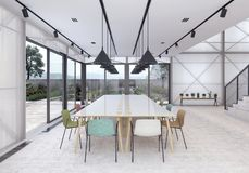 Modern co working office with organic garden. 3D Rendering royalty free stock photos