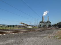 Modern Coal Fired Powerplant with Railroad Tracks Royalty Free Stock Photography
