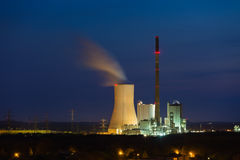 Modern Coal Power Station At Night Stock Photography