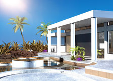Modern coastal home with an outdoor patio. With modular built in seating and palm trees overlooking the ocean on a hot tropical sunny day royalty free illustration