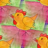 Modern cock seamless watercolor artist wallpaper texture of hand Royalty Free Stock Image