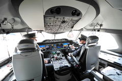 Modern cockpit of Qatar Airways Boeing 787-8 Dreamliner at Singapore Airshow Royalty Free Stock Photo
