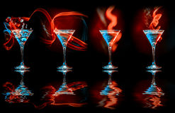 Modern cocktails in glasses Royalty Free Stock Photo