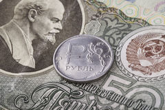 Modern coin ruble on old banknote of the USSR Royalty Free Stock Photography