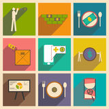 Modern collection flat icons with shadow economic Royalty Free Stock Images