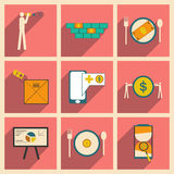 Modern collection flat icons with shadow economic Royalty Free Stock Image