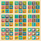 Modern collection flat icons with shadow economic Royalty Free Stock Photography