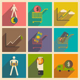 Modern collection flat icons with shadow economics and finance Stock Photo