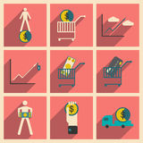 Modern  collection flat icons with shadow economics and finance Stock Image