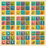 Modern collection flat icons with shadow economics and finance Royalty Free Stock Image