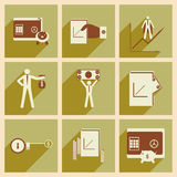 Modern collection flat icons with shadow economy Stock Image