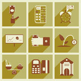 Modern collection flat icons with shadow economy Stock Photography