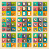 Modern collection flat icons with shadow economy Stock Photos