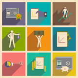 Modern collection flat icons with shadow economy Royalty Free Stock Photography