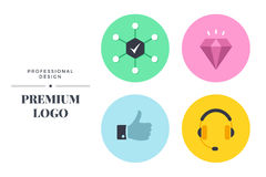 Modern color icon set design. Vector round sign template Royalty Free Stock Photo