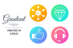 Modern color icon set design. Vector round sign template Stock Photography