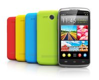 Modern color smartphones Stock Image