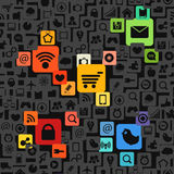 Modern color social media icons Royalty Free Stock Image