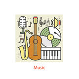 Modern color thin line art design music. Stock Photos