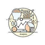 Modern color thin line concept analytics. Vector illustration with different elements on the subject of intelligence. Graphic element for analytical companies Stock Photography