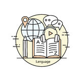 Modern color thin line concept of learning foreign languages Royalty Free Stock Image