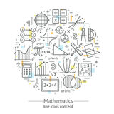 Modern color thin line concept of mathematics. Royalty Free Stock Photo
