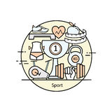 Modern color thin line concept of sports and fitness. Royalty Free Stock Photos