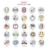 Modern color thin line icons on sports themes. Stock Image
