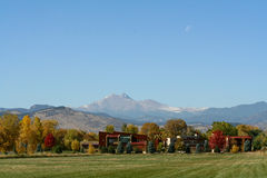 Modern Colorado Architecture. A view of some modern houses in Colorado. The design blends into the landscape, with Longs Peak in the background stock image