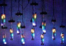 The ceiling lamps. The modern colored ceiling lamps royalty free stock photography