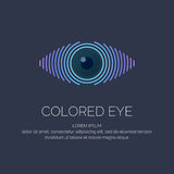 Modern colored logo eye. In a futuristic style. Vector illustration on a dark background for advertising Stock Image