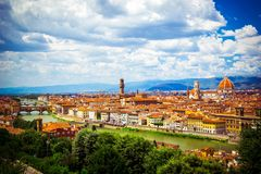 Free Modern Colorful Aerial View Florence Firenze On Blue Backdrop. Famous European Travel Destination. Beautiful Architecture. Italian Stock Photo - 139900100
