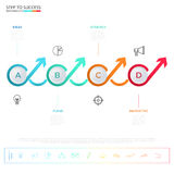 Modern colorful business timeline circle arrow infographics template with icons and elements Royalty Free Stock Photography
