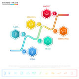 Modern colorful business timeline hexagon infographics template with icons and elements. Can be used for workflow layout, banner, diagram, web design Stock Photography