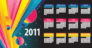 Modern and colorful calendar 2011. With stripes and stars Royalty Free Stock Photo