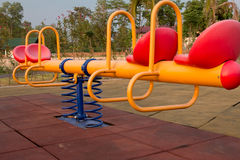 Modern colorful children playground in public park Stock Photography