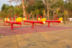 Modern colorful children playground in public park Royalty Free Stock Images