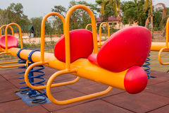 Modern colorful children playground in public park Royalty Free Stock Photo