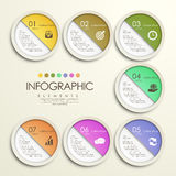 Modern colorful circle paper sticker style infographic Royalty Free Stock Photo