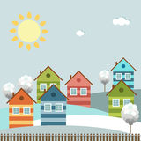 Modern Colorful City, Winter Theme. Modern colorful city with cozy houses royalty free illustration