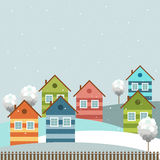 Modern Colorful City, Winter Theme. Modern colorful city with cozy houses, hills, trees and snow stock illustration