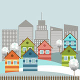 Modern Colorful City, Winter Theme. Modern colorful city with cozy houses and skylines stock illustration