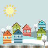 Modern Colorful City, Winter Theme. Modern colorful city with cozy houses and skylines in the background vector illustration