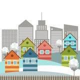Modern Colorful City, Winter Theme. Modern colorful city with cozy houses and skylines in the background stock illustration