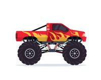Free Modern Colorful Customized Monster Truck Vehicle Illustration Royalty Free Stock Photography - 117529767