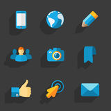 Modern colorful flat social icons Royalty Free Stock Images