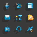Modern colorful flat social icons set Stock Photos