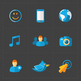 Modern colorful flat social icons set Stock Photography