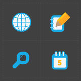 Modern colorful flat social icons set Stock Images