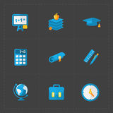 Modern colorful flat social icons set on dark background. Royalty Free Stock Images